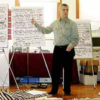 Fred Bartenstein faciltating a planning retreat at Tsegyalgar Dzogchen Community, Conway MA, 2005. (Photo: Anna Bartenstein)
